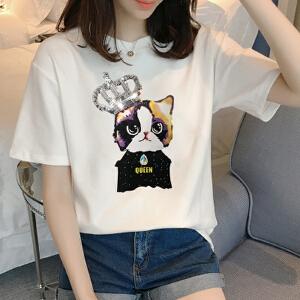 【当当年中庆】2017大码女装夏季新款2017短袖亮片拼接T恤外穿宽松体恤上衣