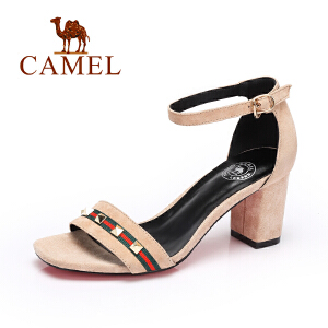 camel骆驼女鞋 夏季新品时尚高跟凉鞋 优雅粗跟一字扣凉鞋