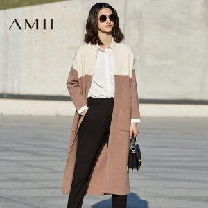 【预售】Amii2017春季新款拼色宽松大码长款过膝针织开衫外套女