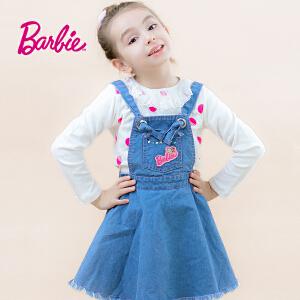 【券后150-70】芭比童装女童秋装背带牛仔裙中大童俏皮可爱大裙摆裙子