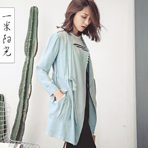 一米阳光 2017春装新款韩版风衣女中长款休闲薄外套英伦风