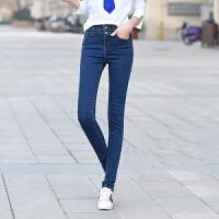 春季新款高腰弹力显瘦黑色牛仔裤女小脚裤铅笔裤双排扣  17YK1910