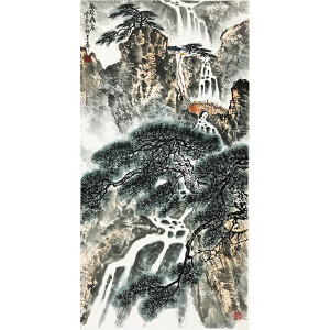 张登堂《雨后飞泉》著名画家