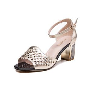莎诗特中跟凉鞋女 207夏季新款露趾水钻防水台罗马粗跟时尚凉鞋86062