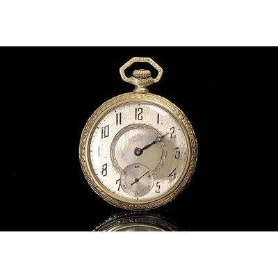 20世纪 欧洲银鎏金机械怀表 高5.5cm