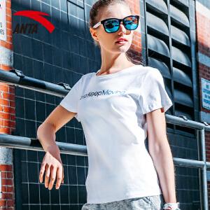 安踏短袖T恤女 2017夏季新款轻薄透气女子休闲运动短袖16728166