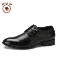 骆驼牌男鞋休闲商务鞋 舒适耐磨尖头男士皮鞋时尚系带