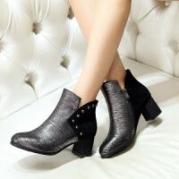 娜箐箐冬新款欧美牛皮粗跟方头金属短筒靴女真皮高跟短靴女鞋