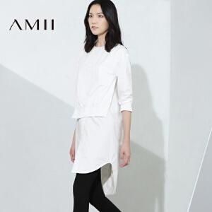 【AMII超级大牌日】2017年春新女时尚宽松假两件拼接落差摆衬衫11693606