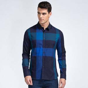 才子男装(TRIES)长袖衬衫 男士2017新款简约条纹拼色休闲百搭长袖衬衫
