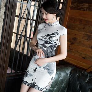 【当当年中庆】2017新款春时尚改良定位花日常修身复古气质短旗袍