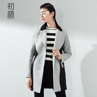 初语冬季新品棉服女中长款 修身显瘦撞色拼接百搭棉衣外套女8531224011
