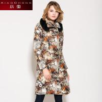 小虫 冬装新款欧美时尚复古中长款加厚狐狸毛领棉服棉衣外套女