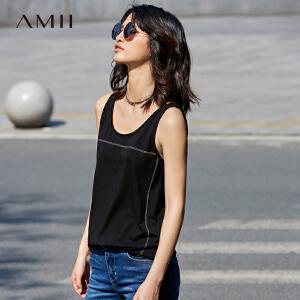 Amii[极简主义]2017夏圆领无袖绣线打底外穿大码百搭背心11720497
