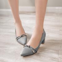彼艾2017春季新款粗跟单鞋女 交叉绑带尖头女鞋欧美浅口高跟鞋女