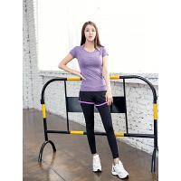 COPPERHEAD 健身服女 瑜伽服套装 三件套显瘦健身房跑步服女运动弹力假两件紧身修身速干性感 必备四季款(短袖T恤+运动文胸+运动裤)