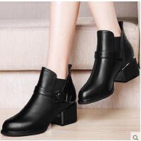 百年纪念粗跟马丁靴英伦风裸靴高跟女靴子秋冬季新款真皮女鞋黑色短靴