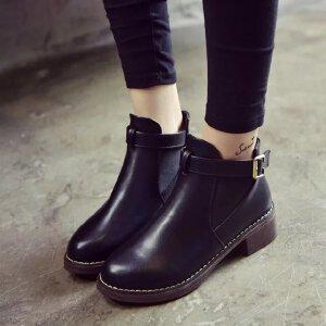 妃枫霏英伦风时尚女单靴圆头平底短靴套筒短筒擦色复古简约单鞋皮带扣及踝靴