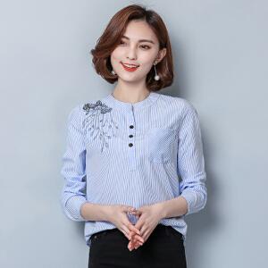 春季新款绣花条纹衬衣 韩版大码女装时尚百搭打底衫