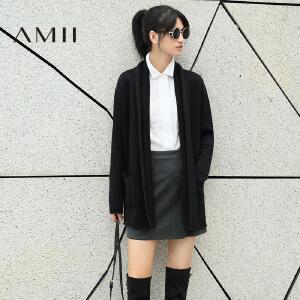 【AMII超级大牌日】[极简主义]2017年春女新品纯色长袖大码中长款毛衣外套开衫上衣