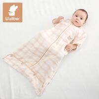 威尔贝鲁 婴儿纯棉纱布睡袋儿童宝宝防踢被子新生儿夏季信封睡袋