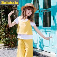 巴拉巴拉儿童短袖套装女2017夏新款中大童童装女童三件套半袖休闲