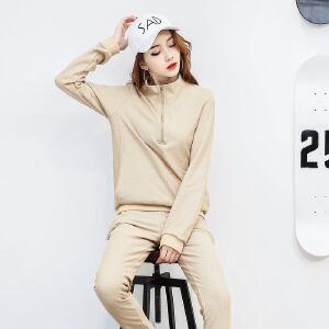 香衣宠儿 2017春季新款休闲运动套装女 长袖套头卫衣 跑步服运动服两件套套装女2529-1702