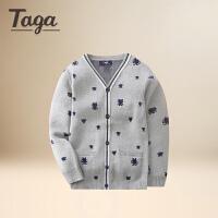 TAGA童装男童毛衣开衫2017春秋装新款儿男童针织卡通潮流开衫