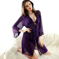 夏季诱惑 睡袍女 透明超薄网纱浴袍睡袍 情趣内衣性感睡衣女