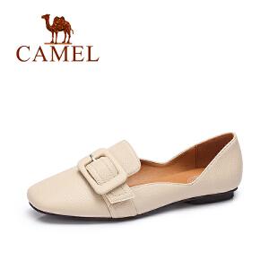 Camel/骆驼女鞋 2017秋季新款 日系简约皮带扣纯色单鞋浅口套脚鞋