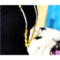 复古时尚潮流气质挂件天然贝壳珍珠黄珠结毛衣项链 女 长款