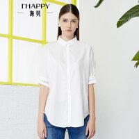 【4.24上新】海贝2017年夏季新款女装 纯棉简约翻领字母印花中袖中长款白衬衫