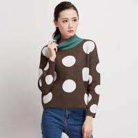 秋冬女装新款潮半高领针织衫套头加厚款宽松撞色波点毛衣短款特惠
