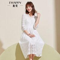 【2件5折】【6.30上新】海贝夏季新款女装白色蕾丝V领喇叭袖高腰松紧腰中长款公主连衣裙
