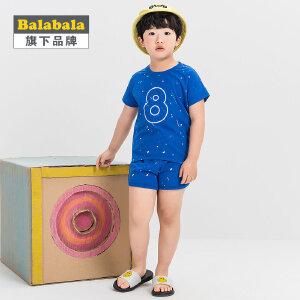 【6.26巴拉巴拉超级品牌日】巴拉巴拉旗下 巴帝巴帝男童韩风运动针织套装2017夏休闲甩印套装