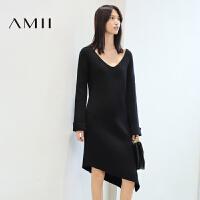 【AMII超级大牌日】[极简主义]2016冬V领喇叭袖不规则开叉长袖连衣裙女11693444