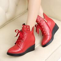 娜箐箐冬新款牛皮坡跟系带休闲女鞋圆头内增高真皮侧拉链短靴