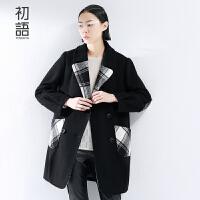 初语摩登新款冬装毛呢外套女  简约格纹长袖呢大衣女8541224041