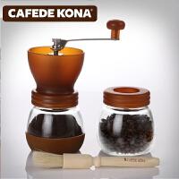 CAFEDE KONA磨豆机 家用手摇咖啡豆研磨组合密封罐 磨粉器 CK8959咖啡色