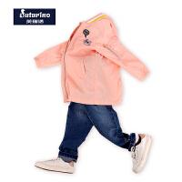 芙瑞诺童装春季新款女款棒球衣长款风衣中童外套