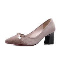 ELEISE美国艾蕾莎春季上新002-X109韩版西施绒中高跟粗跟尖头女士单鞋