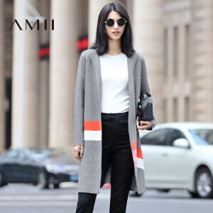 【AMII超级大牌日】2017年春新款撞色针织开衫中长款长袖保暖毛衣外套女