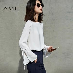 Amii[极简主义]2017春装新款纯色绑带喇叭长袖大码雪纺衫11740232