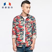 朗蒙秋季新品男士工装迷彩韩版长袖衬衫修身休闲纯棉印花衬衣