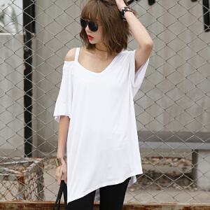 2017夏季新款纯色V领短袖T恤韩版女装BB17119