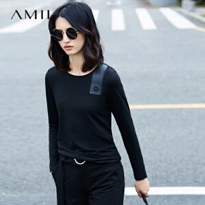 【预售】Amii2017春新品修身纯色圆领印花休闲弹力T恤11770188