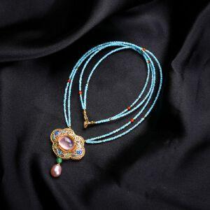 【只有一个】芙蓉石银镀金花丝坠松石项链
