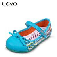 UOVO2017女童休闲鞋春季新款中小儿童童鞋搭扣编织公主鞋 爱丽丝