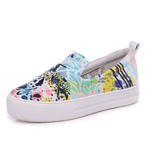 milkroses 冬款清仓 原创个性涂鸦布料舒适懒人鞋