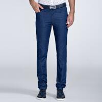 才子男装(TRIES)牛仔裤 男士2017年新品纯色简约立体有型商务时尚百搭牛仔裤